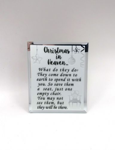 'Christmas in Heaven' mirror glass plaque.
